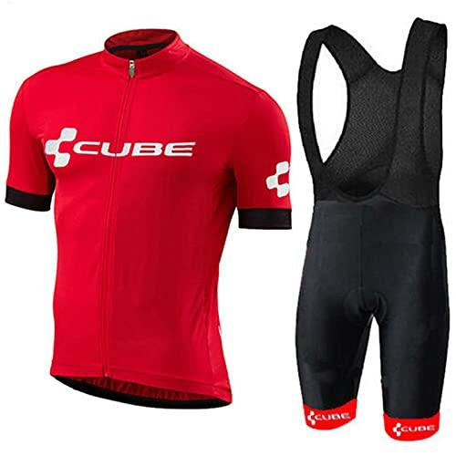 MINGJ Herren Radtrikot Set Elastische Atmungsaktive Kurzarm Fahrradtrikot Trägerhose Radhose mit 5D Sitzpolster für MTB Rennrad Fahrrad(XL,Red)