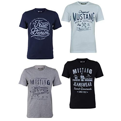 MUSTANG Herren T-Shirt 4er Pack Frontprint O-Neck Rundhalsausschnitt Kurzarm Regular Tee Shirt 100% Baumwolle Schwarz Weiß Grau Blau, Größe:XL, Farbe:Farbmix (P7)
