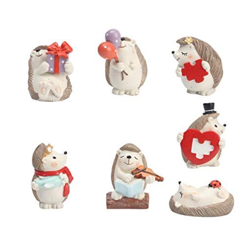 Veemoon 7 Piezas Hedgehog Figurines Cake Toppers Animales del Bosque Juguetes Figura Criaturas del Bosque Estatua Juguetes en Miniatura para El Jardín de su Casa Regalo de Maceta de