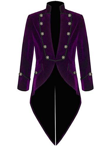 Steampunk Jacket Men High Collar Purple Women Costume Party Retro Gothic Victorian Trench Coat Uniform