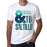 Photo de Homme T Shirt Graphique Imprimé Vintage Tee and Travel to Saltillo Blanc