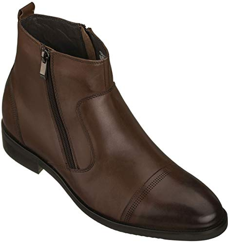 CALTO Men's Invisible Height Increasing Elevator Shoes - Dark Brown Premium Leather Lightweight Zipper Boots - 2.8 Inches Taller - S28002 - Size 10 D(M) US