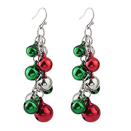 Goccia di Campana di Natale Orecchini Carino Rosso Verde Jingle Bell Ciondolare Orecchino Orecchino Gioielli Regalo per Le Donne Ragazze 1pair