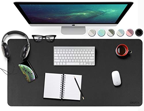 EMINTA Dual Sided Desk Pad, New Upgrade Sewing PU Leather Office Desk Mat, Waterproof Desk Blotter Protector, Desk Writing Mat Mouse Pad (Classical Black, 31.5' x 15.7')