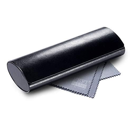 FEFI - Leichtes klassisches Hardcase Brillenetui im Leder-Look (Schwarz)