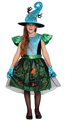 Magicoo Waldhexe Hexenkostüm für Kinder Mädchen inkl. Kleid, Handschuhe & Hut - Gr 98 bis 146 - Halloween Hexe-Kostüm Kind (128/134)
