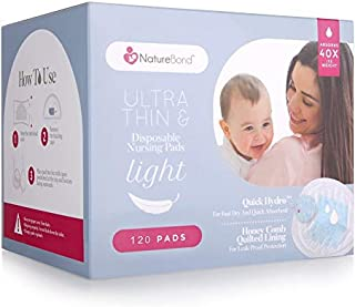 NatureBond Disposable Nursing Breast Pads 120 Pcs. Ultra Thin, Light, Contoured and Highly Absorbent Breastfeeding Milk Pads