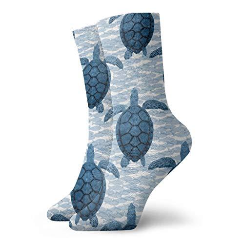 Helen vi Socken damen 39-42 Blaue Schildkröten und Fische_4857,100% Baumwolle rutschfest für Männer Frauen eine Größe.