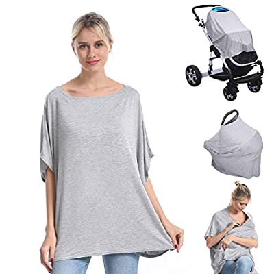 Nursing Breastfeeding Cover Car Seat Canopy for Infant Baby, Soft Bamboo Jersey, Extremely Stretchy, All-in-one Carseat Stroller Cover, Nursing Cover Up Poncho Tops Clothes, Nurse Gift Grey
