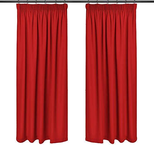 Rollmayer Vorhänge mit Bleistift Kollektion Vivid (Rot 12, 135x150 cm - BxH) Blickdicht Uni einfarbig Gardinen Schal für Schlafzimmer Kinderzimmer Wohnzimmer
