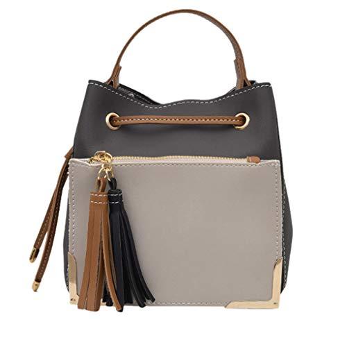 TIFIY Damen Rucksack Damenmode Beuteltasche Color Stitching Umhängetasche Commute Messenger Bag Arbeits Täglich Bankett Elegant Tasche(Grau)