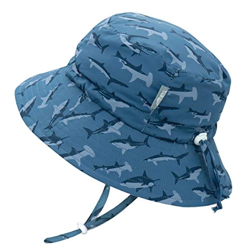 JAN & JUL Infant Boy Sun-Hat with Strap, 50 UPF Quick-Dry Breathable (S: 0-6 Months, Shark)
