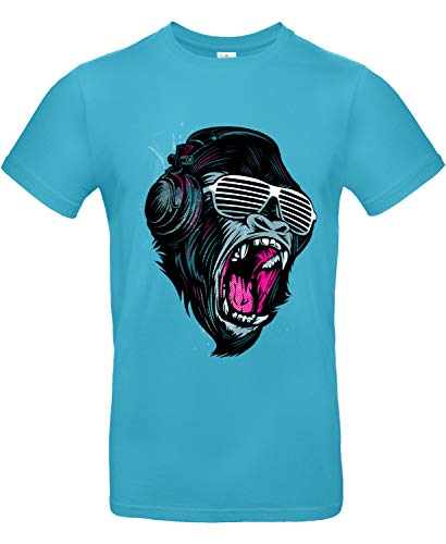 Smilo & Bron Herren T-Shirt mit Motiv Jungle Sound Bedruckt Türkis Swimming Pool XXL