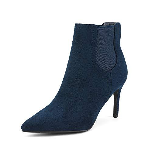 Dream Pairs Kizzy-1 Botines de Tacón Aguja Puntiaguda para Mujer Azul Marino Ante 40.5 EU/9.5 US