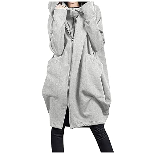 Carino Maglioni per le Donne Moda Autunno/Inverno Peluche Manica Lunga Maglione Allentato Oversize Zip Up Hoodie, Grigio chiaro, 3XL