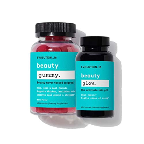 Evolution_18 Hair, Skin & Nails Duo | Beauty Gummy + Beauty Glow (30 Servings Each) | Ultimate Supplements for Healthy & Glowing Skin