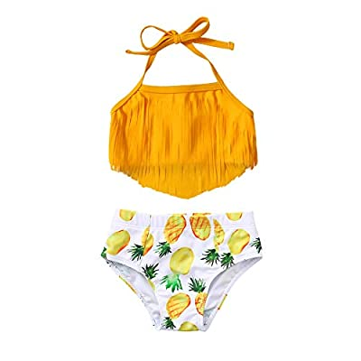 Toddler Girl Bathing Suits Little Kids Swimsuit Girl String Triangle Halter Bikini CuteTankini Swimsuit Beachwear 2T 3T Bathing Suit for Girls Yellow