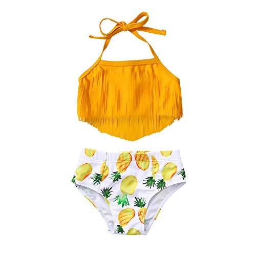 Toddler Baby Girl Swimsuit Triangle Halter Bikini Infant Swimsuit Girls Tassel Tankini 2pc Baby Girl Bathing Suit 18-24 Months Orange