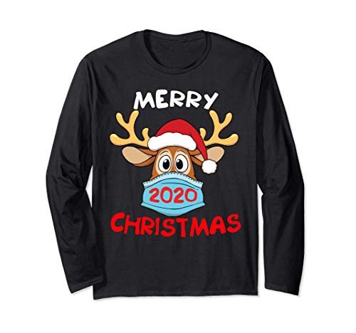 Reindeer In Mask And Garland Funny Merry Christmas 2020 Long Sleeve T-Shirt