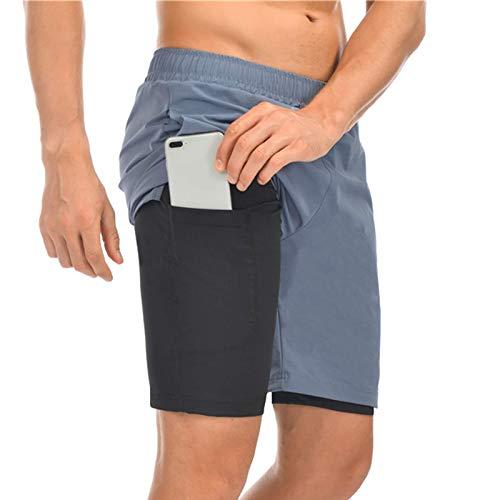 Shorts de Sport Homme Shorts Exercice Actif Short de Course avec Compression Interne et Poches Zippes Drawstring Extensible Shorts