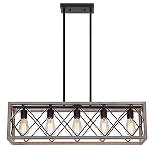 Q&S Farmhouse Chandelier Light Fixture,Rectangle Geometric,ORB+Oak White,Vintage Rustic Chandeliers Ceiling Light Fixtures for Kitchen Island Dining Room Living Room Foyer,5 Lights,Adjustable