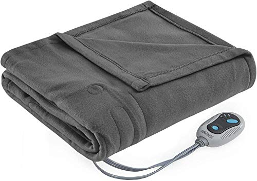 Beautyrest Fleece Electric Blanket Heated Throw Wrap Super Soft Hypoallergenic with Auto Shutoff-3-Setting Controller, 50x60, Grey