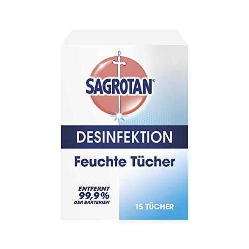 Sagrotan Feuchte Tücher zur Desinfektion – In praktischer Reisegröße für die schnelle hygienische Reinigung unterwegs – 1 x 15 Feuchttücher, einzeln verpackt