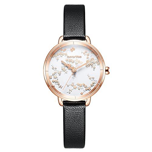 CIVO Reloj de pulsera para mujer, resistente al agua, analógico, de cuarzo, de piel, minimalista, para mujer o niña, moda informal, 5 Negro.,