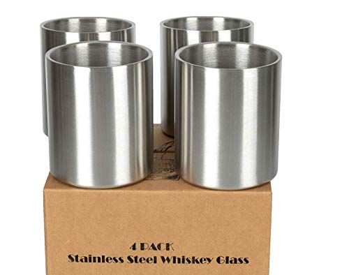 Whiskey Glass Set of 4 Stainless Steel Lowball Glasses - 10 oz Insulated Shatterproof Outdoor Bourbon Glass - Ideal Gift for Family, Friends and Whisky Lovers