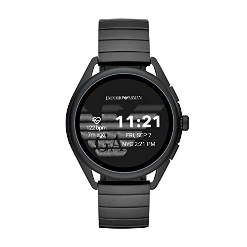Emporio Armani Men's Smartwatch 3 Touchscreen Aluminum and Stainless Steel Smartwatch, Black-ART5020