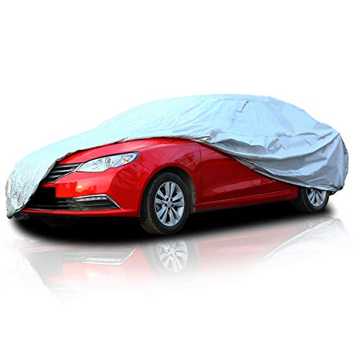 Ohuhu Car Cover for Sedan Outdoor, Upgraded Car Covers Universal Auto Vehicle Cover for Sedan L (191'-201') - Windproof. Dustproof. UV Protection. Scratch Resistant