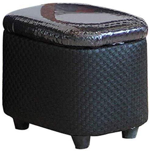 Yxsd Zapatero con reposapiés tapizado de madera, asiento de piel con cojín en color negro para corredor, 150 kg