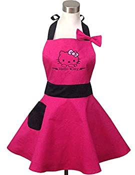 Hyzrz Lovely Hello Kitty Hot Pink Retro Kitchen Aprons for Woman Girl Cotton Cooking Salon Pinafore Vintage Apron Dress