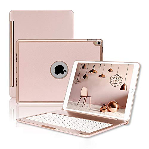 ONHI Wireless Keyboard Case for iPad Air 2019 3rd Gen/iPad Pro 10.5' 2017 Aluminum Shell Smart Folio Case with 7 Colors Back-lit, Auto Sleep / Wake, Silent Typing (A1701/A1709)(10.5 Rose Gold)