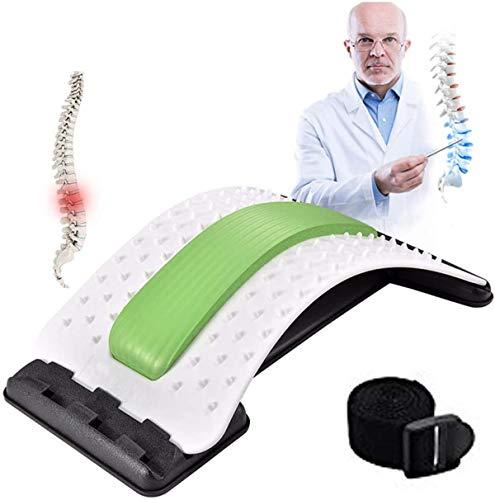 Dispositivo de estiramiento de espalda CareforYou: alivia el dolor de espalda inferior y superior, dispositivo de estiramiento lumbar, corrector de postura(blanco / verde)