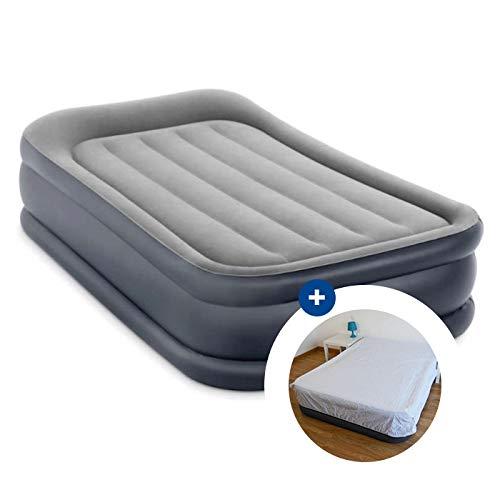 RAVIDAY Pack Matelas Gonflable Intex Rest Bed Deluxe Fiber-Tech 191 x 99 x 42 cm + Drap Housse