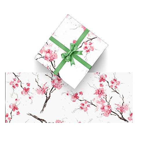 CUXWEOT Gift Wrapping Paper Cherry Blossom Branches Original Watercolor for Christmas,Birthday,Holiday,Wedding,Gifts Packing - 3Rolls - 58 x 23inch Per Roll