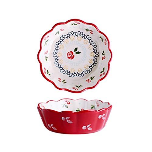 Assiette Salade De Cerises Deep Dish Bol en Céramique Bol À Manger Mignon Rouge 4.7cm Home Breakfast Plate Fruit Dish (Color : Red, Size : 15 * 11 * 4.7cm)
