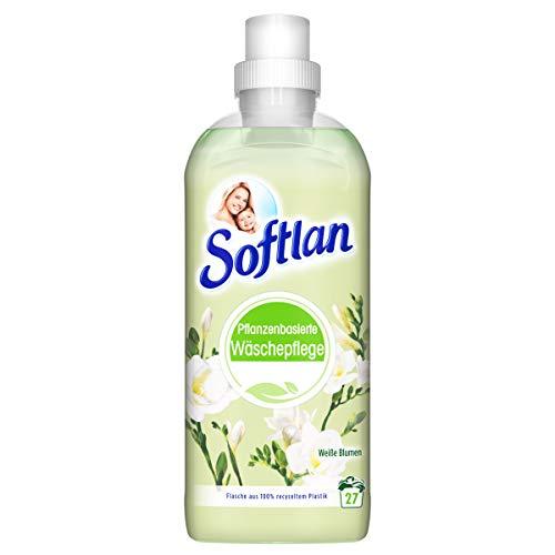 Softlan Weichspüler, weiße Blumen, pflanzenbasierte Wäschepflege, 650 ml - für weiche Wäsche und umweltschonend, mit wunderbaren Duft, 27 Waschladungen