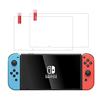 TalkWorks Tempered Glass for Nintendo Switch Screen Protector  2 Pack  Scratch Crack Resistant Easy-Install Protective Ultra-Thin HD Touch Screen Cover Film Back