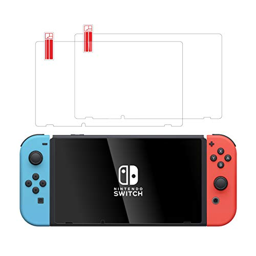 TalkWorks Tempered Glass for Nintendo Switch Screen Protector (2 Pack) Scratch, Crack Resistant, Easy-Install, Protective Ultra-Thin HD Touch Screen Cover Film Back