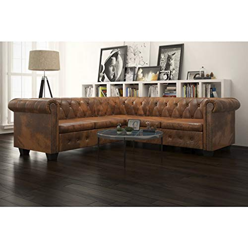 vidaXL Chesterfield Corner Sofa 5-Seater Home Living Room Sofa Loveseat Chaise Longue Faux Leather Brown