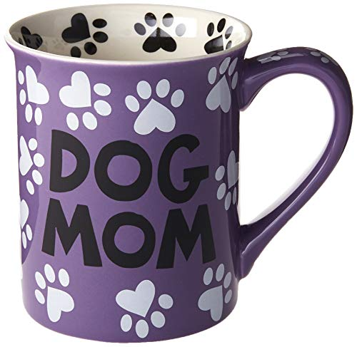 "Enesco 4026112 Our Name is Mud ""Dog Mom, 16 oz. Stoneware Mug, 16 Ounces, Multi Color"
