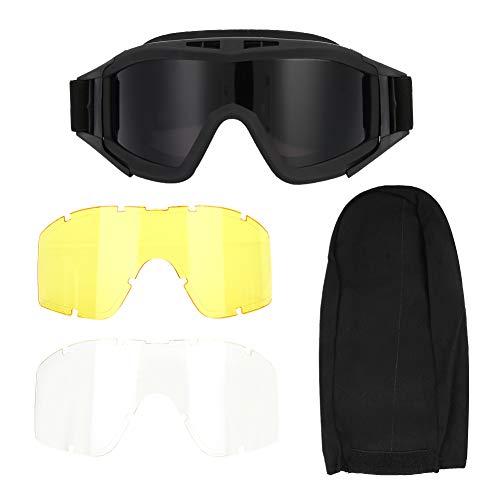 Haokaini Sportbrille Airsoft Paintball Ski Anti-Staub Anti-Fog Augenschutzbrille mit 3-Farben-Linse für Paintball Reiten Schießen Jagd Radfahren