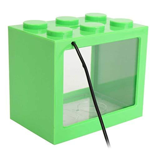 Hjd Aquarium USB-mini-led-viskist, aquarium, transparant, acryl, aquarium, kantoor, bureaudecoratie, creatieve blokken, bouwen, gestapelde aquaria