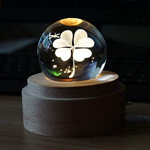 Creativo 3D Noche de Luna bola de cristal Luz de luna Luz de música ligera caja de música lámpara de cabecera romántica femenina regalo de cumpleaños Recuerdos accesorios for el hogar de cuatro hojas