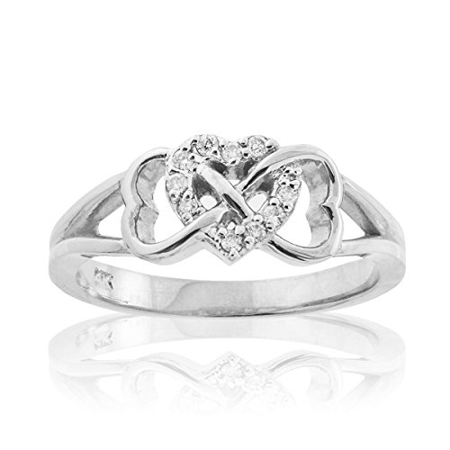 .925 Sterling Silver Cubic Zirconia Triple Heart Infinity Celtic Knot Band Engagement Ring - Size 5