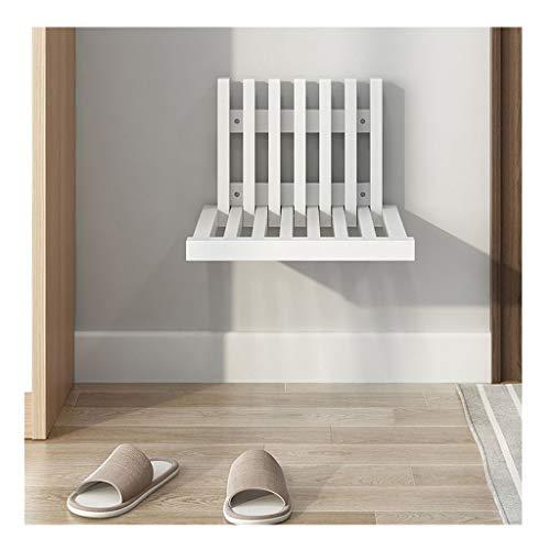 XDD Banco de Zapatos de Madera de Caucho para Entrada Taburete Plegable Montado En La Pared Montaje Simple para Pasillo Dormitorio Sala de Estar Pasillo Solo 5 Cm de Grosor Después del Plegado
