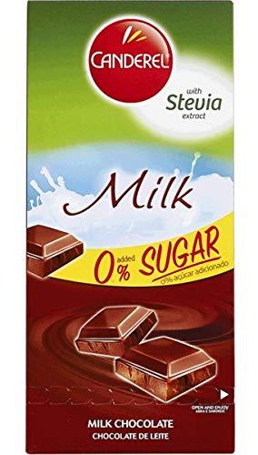 CANDEREL Chocolate / Cioccolato (Senza zucchero - adatto per i diabetici) - Milk Chocolate / Cioccolato al latte - 100gr x 6 bar * CON ESTRATTO DI STEVIA