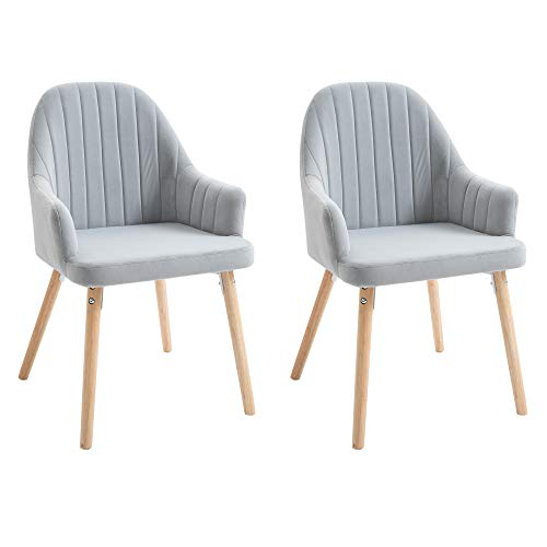 HOMCOM Dining Chairs Set of 2, Upholstered Accent Leisure Chairs with Solid Rubber Legs for Living Room Bedroom, Grey